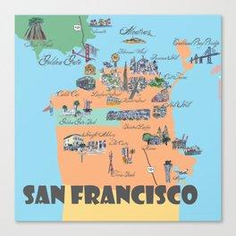 San Francisco Fine Art Print Retro Vintage Favorite Map with Touristic Highlights Active Canvas Print