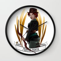 monster hunter Wall Clocks featuring Steampunk Occupation Series: Monster Hunter by kortothecore