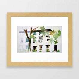 Brownstones and Tree Framed Art Print