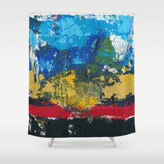 Lucas Abstract Painting Blue Black Yellow Shower Curtain