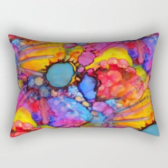 Rainbow Splats Alcohol Inks Rectangular Pillow