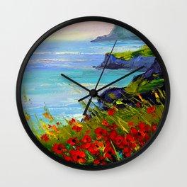 Sea ,rocks,flowers Wall Clock