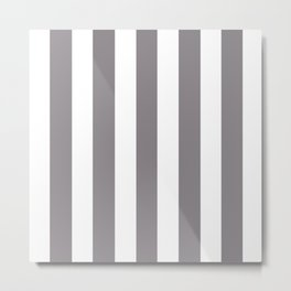 Taupe gray - solid color - white vertical lines pattern Metal Print