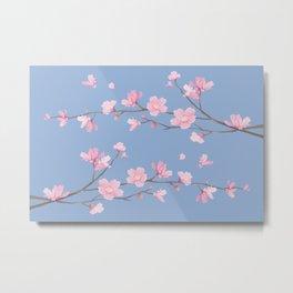Cherry Blossom - Serenity Blue Metal Print