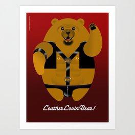 LEATHER LOVIN BEAR Art Print
