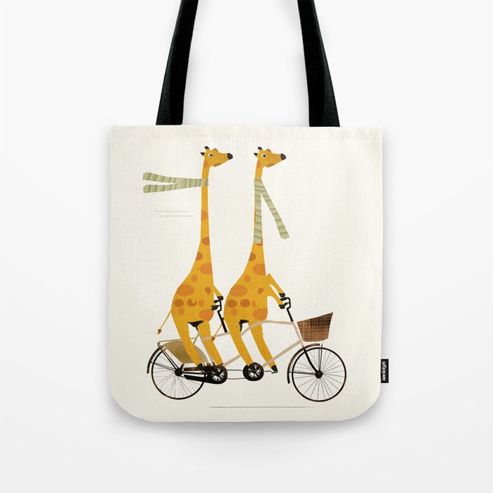 lets tandem giraffes Tote Bag