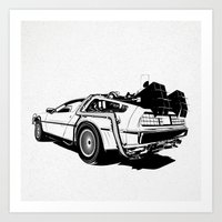 delorean Art Prints featuring DeLorean / BW by CranioDsgn