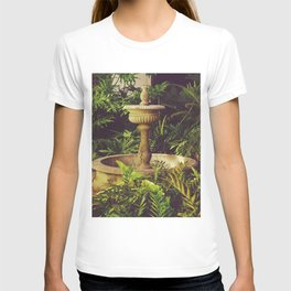 Patio Andaluz - Old fountain and tropical plants in a garden - Fine Art Travel Photography T-shirt