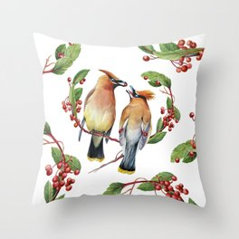 Cedar Waxwing Love Throw Pillow