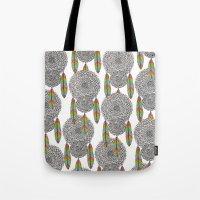 dream catcher Tote Bags featuring Dream Catcher by Luna Portnoi
