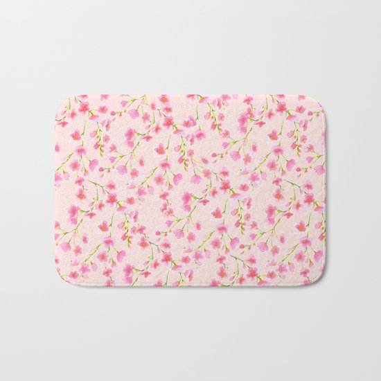 Cherry Blossoms Pink on Pink (For Mackenzie) Bath Mat