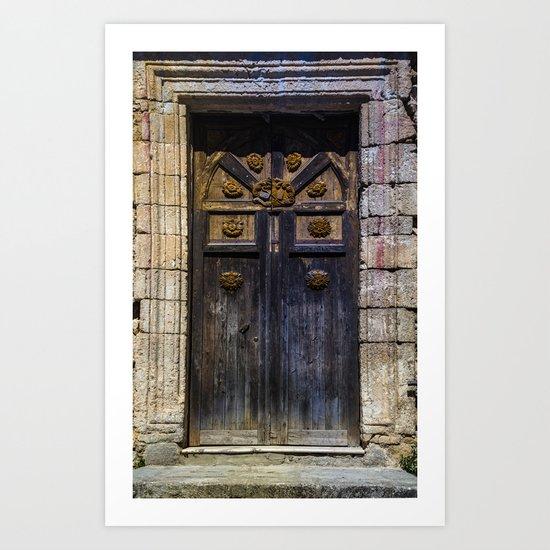 Old brown door Art Print