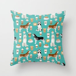 Husky siberian huskies coffee cute dog art drinks latte dogs pet portrait pattern Throw Pillow