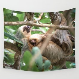 Yawning Baby Sloth - Cahuita Costa Rica Wall Tapestry