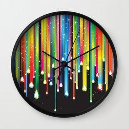 Rainbow Paint Drips Wall Clock