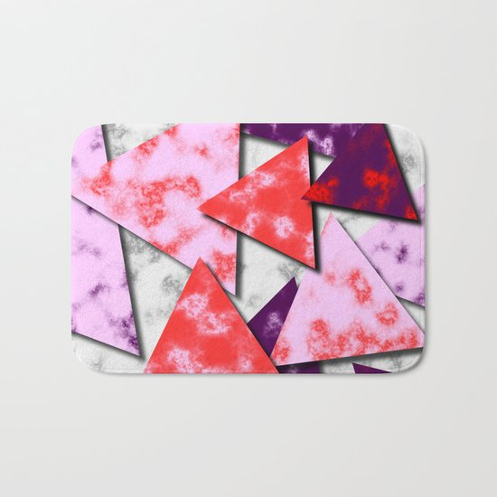 Triangles Layered Pattern in Red Purple and Pink Bath Mat
