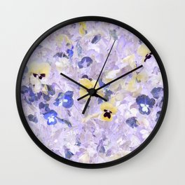 Pansy Field Floral Pattern VI Wall Clock