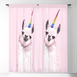 Unicorn Llama in Pink Blackout Curtain