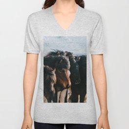 Horses in Iceland - Wildlife animals Unisex V-Neck