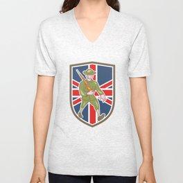 World War One Soldier British Marching Cartoon Shield Unisex V-Neck