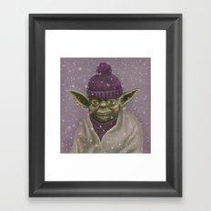 Christmas Yoda (fiolet) Framed Art Print