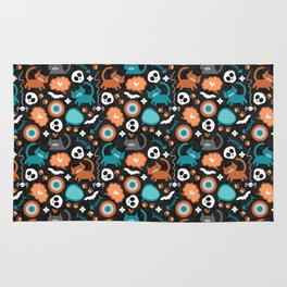Funny Halloween pattern with kittens Rug