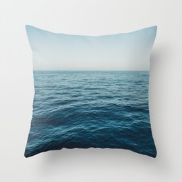 ocean, water, blue sky  -  horizon over water - seascape photography Throw Pillow