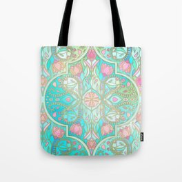 Floral Moroccan in Spring Pastels - Aqua, Pink, Mint & Peach Tote Bag