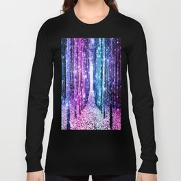 Magical Forest : Aqua Periwinkle Purple Pink Ombre Sparkle Long Sleeve T-shirt