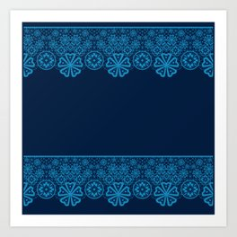 Retro Vintage Blue lace on dark blue background Art Print