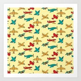 Airplanes - Yellow Art Print