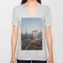 Dubai Skyline   Travel Photography   Unisex V-Neck