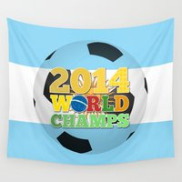 argentina Wall Tapestries featuring 2014 World Champs Ball - Argentina by crouchingpixel
