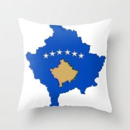 Kosovo map with Flag of Kosovo Throw Pillow