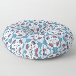 Simple geometric boat helm in blue and red Floor Pillow