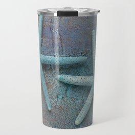 Turquoise Starfish on textured Background Travel Mug