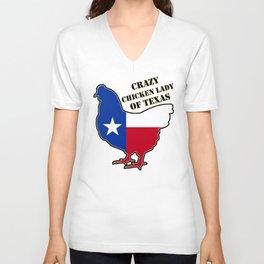 Crazy chiken lady of Texas Unisex V-Neck