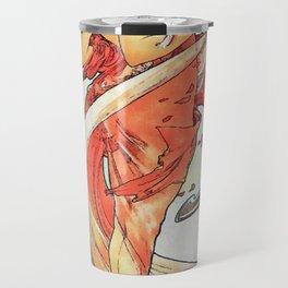 Alphonse Mucha Dance Art Nouveau Watercolor Painting Travel Mug