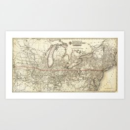 Map of the Continental Railroad Route (1873) Art Print