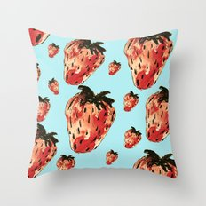 rain of strawberries Throw Pillow
