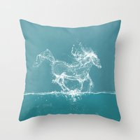 horse Throw Pillows featuring The Water Horse by Paula Belle Flores