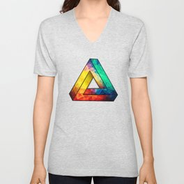Abstract Polygon Multi Color Cubism Low Poly Triangle Design Unisex V-Neck