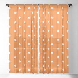 Polka Dots Pattern Vivid Orange and White Sheer Curtain