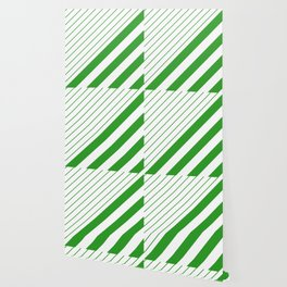 Green And White Stripes Pattern Wallpaper