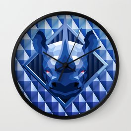 Rhino Head Trophy 2 Wall Clock