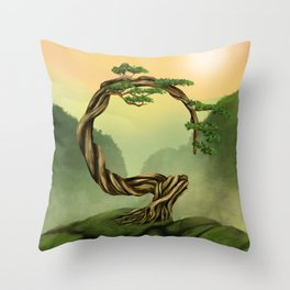 Enso Zen Circle Bonsai Tree  Throw Pillow