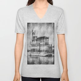 New Orleans Paddle Steamer Vintage Unisex V-Neck