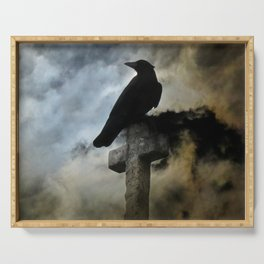 Stormy Clouds And Crow Serving Tray