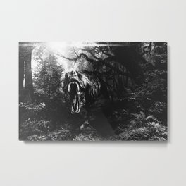 Jurassic Park Black and white Metal Print