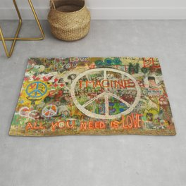 Peace Sign - Love - Graffiti Rug